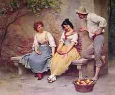 Eugene De Blaas The Flirtation A4 Print