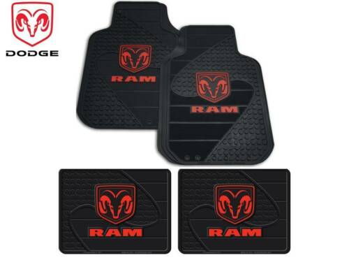 4 Pc Dodge Ram FrontRear Rubber Floor Mats With Logo Fast Shipping