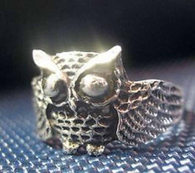 Owl Full body 24kt gold plated ring jewelry bird silver