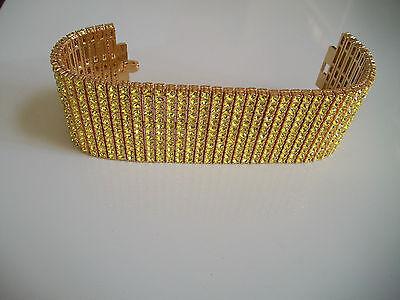 Men's gold finish hip hop fully stone 12 row yellow gold bling fashion bracelet