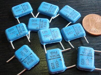 Condensatore Ad Alta Volt Org. * Wima 0,01µf 160v = 13x8x3mm Rm = 10mm Blu 10x 24243- Medulla Benefico A Essenziale