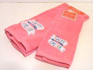 Set of 6 Pink Happy Easter Fingertip & Hand Towels Spring Decoration