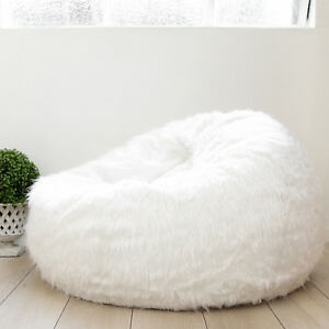 Fantastic Details About White Shaggy Fur Beanbag Cover Soft Bedroom Luxury Bean Bag Lounge Movie Chair Machost Co Dining Chair Design Ideas Machostcouk