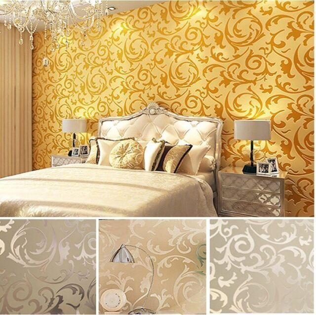 High-End 10M Luxury Embossed Patten/Textured Wallpaper Rolls Victorian Damask