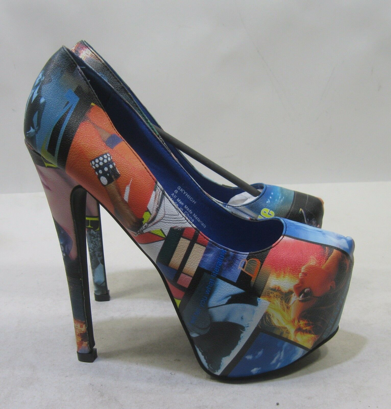 bluee Multi 6.5  Stiletto High Heel 2.5  Platform Womens Sexy shoes Size 8