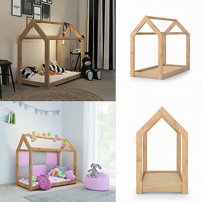 VICCO Kinderbett Kinderhaus Natur 70x140 cm Kinder Bett Holz Spielbett Hausbett
