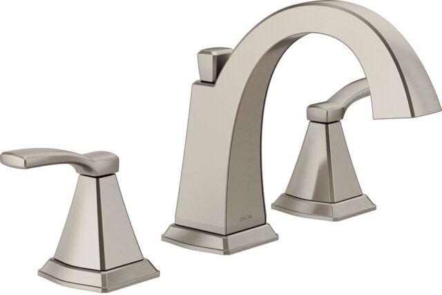 Delta Flynn 2 Handle Widespread Home Bathroom Faucet Robust Base Brushed Nickel