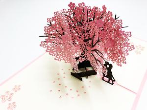 Handmade-3D-Pop-Up-Japanese-Cherry-Blossom-Tree-Anime-Valentine-Female-Card-5L