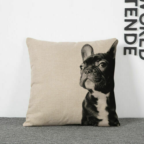 """Dogs 18/"""" Pillow Case Sofa Throw Waist Cushion Cover Cotton Linen Home Bed Decor"""