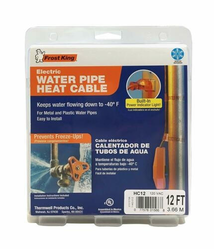 NEW Frost King HC12 12 Feet Automatic Electric Heat Cable Kit FREE SHIPPING!