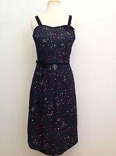 VINTAGE BETTINA OF MIAMI PINK BLACK DESIGN LACE VELVETEEN PINUP ROCKABILLY DRESS