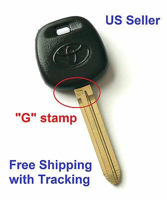 Toyota Transponder Key Blank Ignition G stamp on the blade Chipped Free Shipping