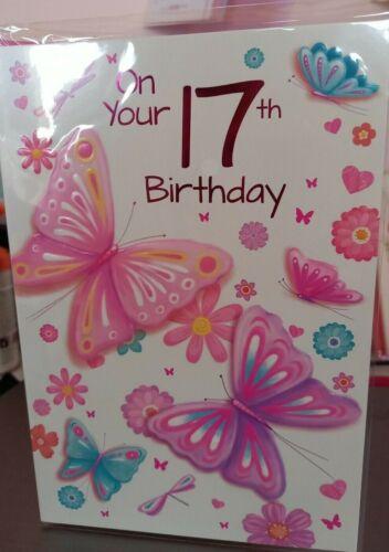 Belle femelle 17TH Joyeux Anniversaire Carte Avec Rose enveloppe-Royaume-Uni vendeur