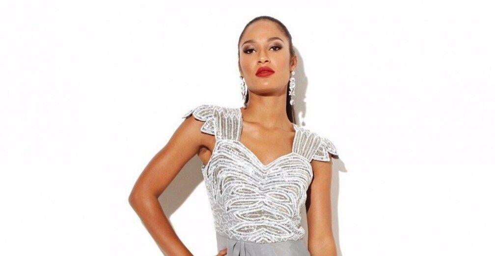 Virgos Freizeit Verziert Midi Hochzeit Party Kleid Größe UK6 EUR34 US2