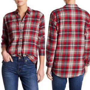 Madewell-Classic-Ex-Boyfriend-Plaid-Flannel-Shirt-Button-Down-Top-size-Medium