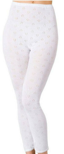 Ladies thermal long johns underwear leggings in white soft and comfortable