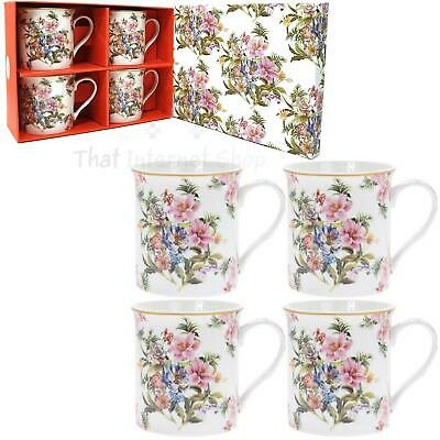 The Leonardo Collection Lily and Rose Print Set of 2 Fine China Mugs Gift Boxed