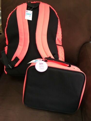 "JUSTICE I LOVE ""DANCE"" SEQUINS BACKPACK /& LUNCHBOX TOTE BRIGHT SHIMMERING CORAL!"