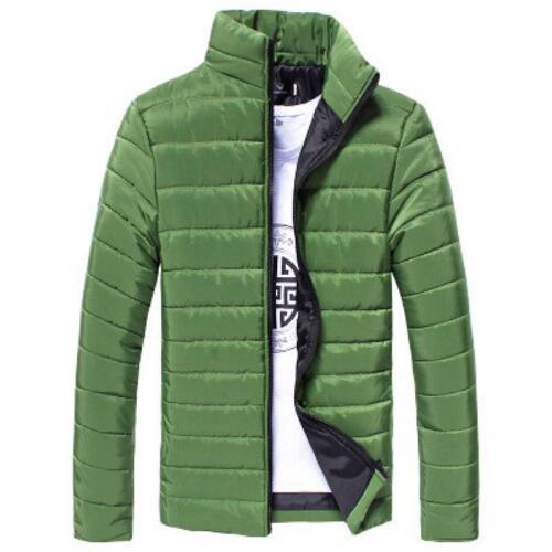 Homme coton rembourré Coat Zipper Slim Fit Outwear hiver chaud pardessus 2019