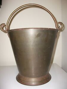 VINTAGE-Lg-SOLID-BRASS-PAIL-BUCKET-FIREPLACE-KINDLING-DECOR-INDIA-11-034-x10-5-034
