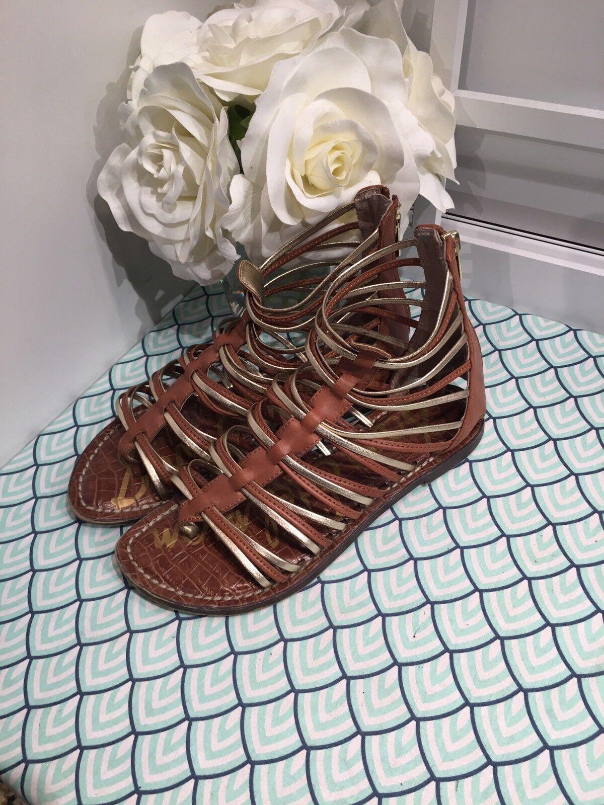 SAM EDELMAN women's size 7 KAMILLE metallic gold gladiator thong sandals shoes