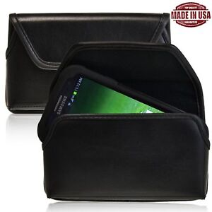 Samsung-Galaxy-S3-Black-Leather-Pouch-Holster-Black-Belt-Clip-Fits-Otterbox-Case