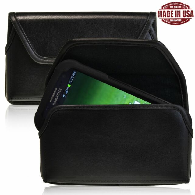 Samsung Galaxy S3 Black Leather Pouch Holster Black Belt Clip Fits Otterbox Case