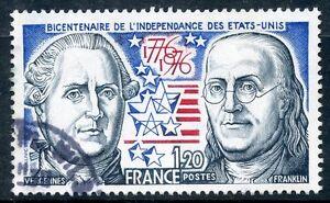 TIMBRE-FRANCE-OBLITERE-N-1879-INDEPENDANCE-ETATS-UNIS-VERGENNES-FRANKLIN