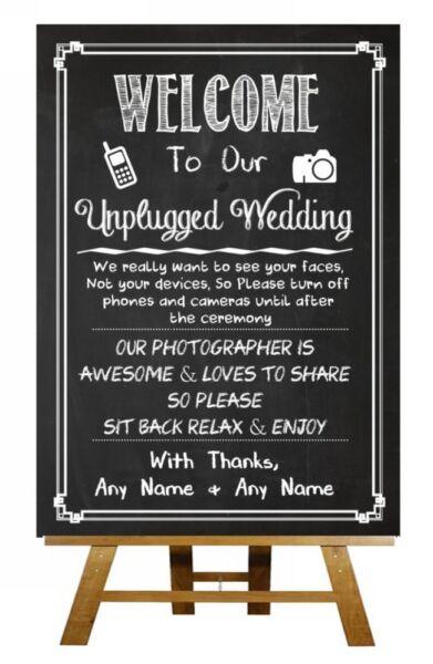 2019 Moda Scollegato Wedding No Telefoni Fotocamere Chalkboard Vintage Personalizzato Wedding Segno
