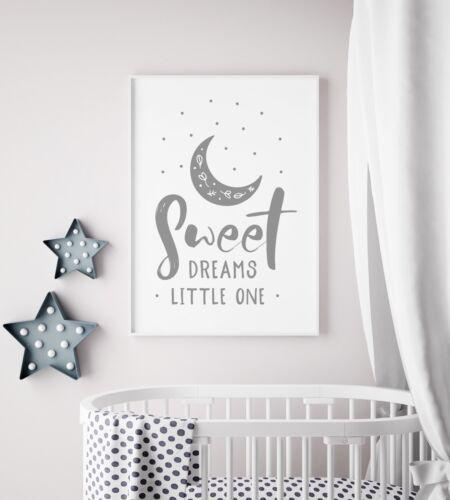 Sweet Dreams Little One Moon Grey Unisex Nursery Print Kid Room Wall Art Picture