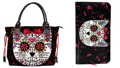 Banned Sugar Skull Kitty Cat Handbag Tote School SHOULDER BAG & WALLET GIFT SET