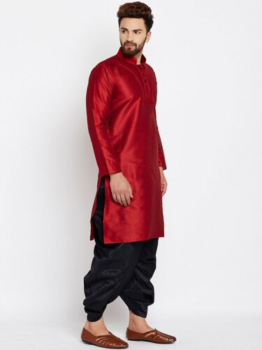 Mens Dupion Silk Dhoti Kurta Set Bollywood Traditional Wear Dress