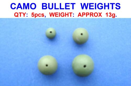 5 CAMO BULLET WEIGHTS 13g INLINE LEADS FOR PIKE DEAD BAIT RIGS SEA FISHING FLOAT