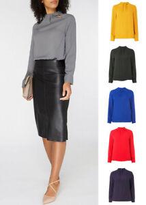 Ex Dorothy Perkins Long Sleeve Top Blouse Grey,Mustard,Black,Blue,Red & Purple