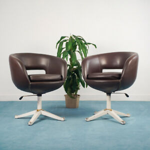 Set 2 Sedia poltrona ufficio Girevole sky marrone anni '70 Vintage Modernariato