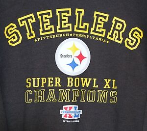 Pittsburgh-Steelers-Super-Bowl-XL-Champions-Sweatshirt-XL-Black-NFL-Football