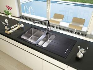 lavandino glasspüle LAVELLO INCASSO CUCINA vetro, acciaio inox 100 x ...