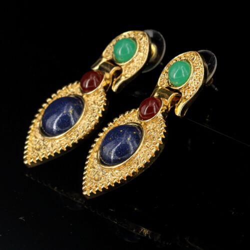 Boucles d/'Oreilles Clous Ethnique Baroque Art Deco Bleu Vert Rouge Vintage AA 6