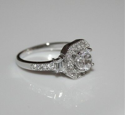 STERLING SILVER 5MM 0.50CT SOLITAIRE CZ CUBIC ZIRCONIA ART DECO STYLE RING