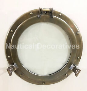 "17""Aluminum Porthole Antique Finish~Port Window Glass Ship Porthole Decor"