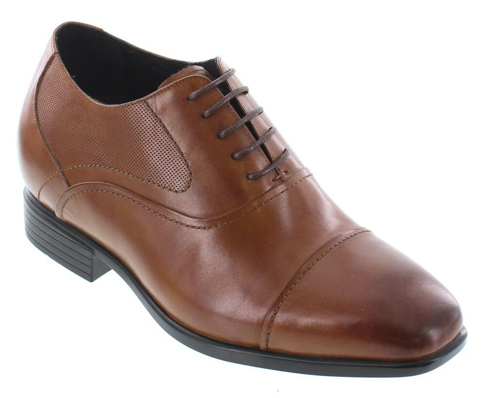 CALTO Y4093 - 3.2 Inches Elevator Height Increase Brown Lace Up Cap Toe Oxfords