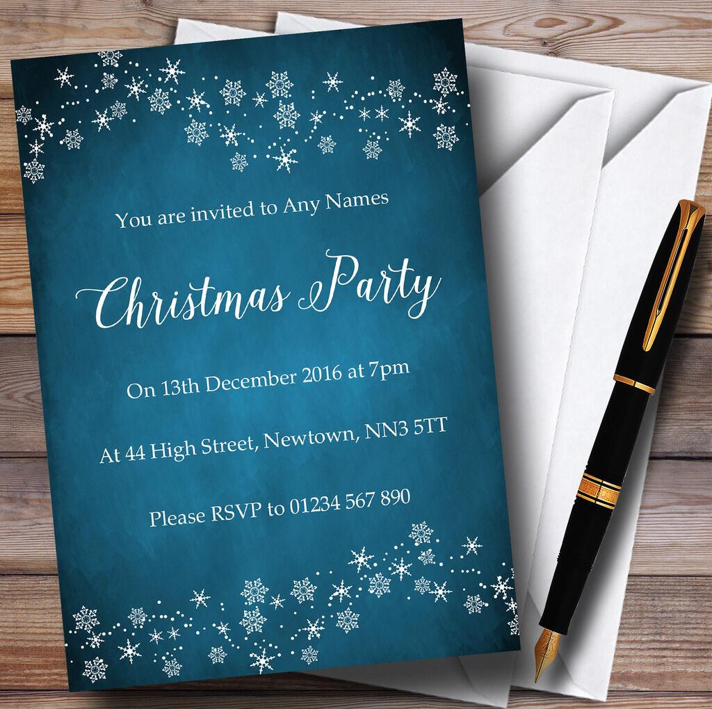 Bleu crépuscule flocon de neige party design personnalisé noël party neige invitations e0b891