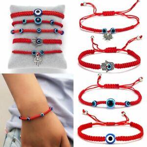 Charm-Women-Braided-Devil-039-s-Eye-Beads-Red-Rope-Bracelet-Adjustable-Bangle-Gift