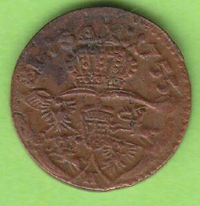 Saxony-Poland Schilling 1755 Grünthal Better Than Very Fine nswleipzig