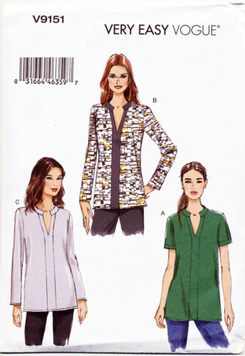 VOGUE SEWING PATTERN 9151 MISSES SZ 4-14 EASY LOOSE-FITTING PULLOVER TUNICS//TOPS