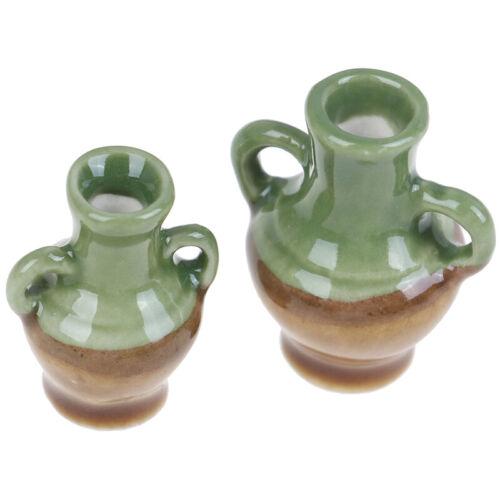 2Pcs//set 1:12 Dollhouse Miniature Ceramic Flower Vase Doll House Accessories Fn
