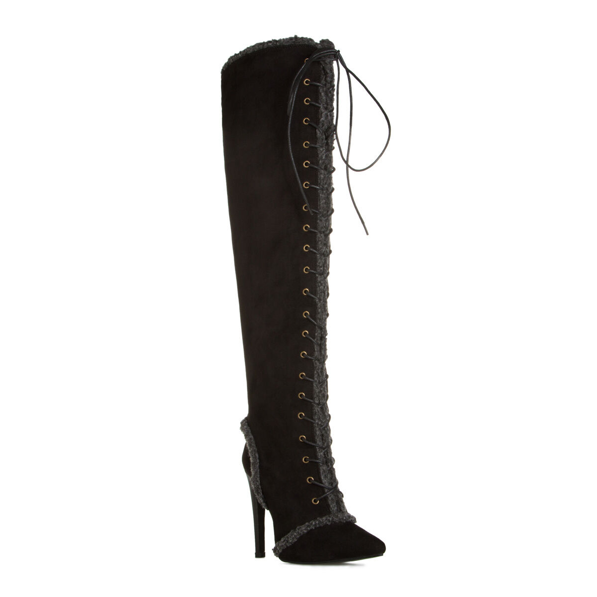 NEW Lace-up Pointed-Toe Over-the-Knee bottes w  Faux-Shearling Accents Taille 8