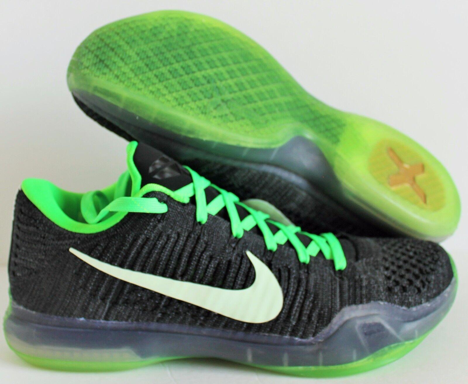 Nike Kobe X 10 Elite Low Flyknit iD Noir -lime SZ 10