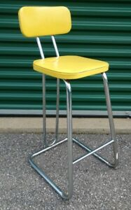 Stupendous Details About Mid Century Modern Daystrom Kitchen Bar Stool Chrome Yellow Seat Hairpin Legs Pabps2019 Chair Design Images Pabps2019Com