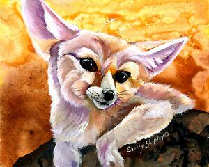 Fennec-Fox-Original-8-034-x-10-034-Art-Painting-by-Sherry-Shipley
